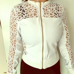Guess white zip up jacket
